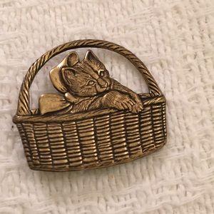 Stamped bronze kitty in a basket. Darling brooch